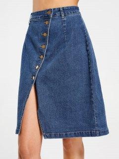 Slit Button Up Denim Skirt - Denim Blue M