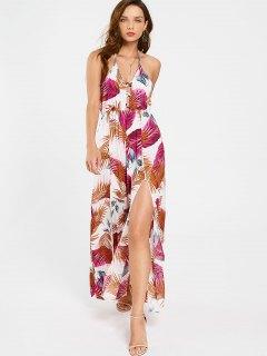 Criss Cross Tropical Slit Maxi Dress - Floral M