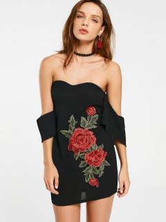 Embroidered Patches Off Shoulder Bodycon Dress - Black M