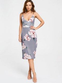 Backless Floral Shesth Dress - Floral M