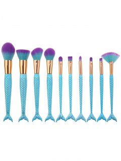 10Pcs Ombre Hair Mermaid Handle Makeup Brushes Set - Blue