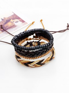 Boho Beaded Woven Faux Leather Rope Bracelets Set - Brown