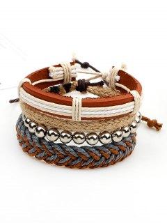Beaded Woven Straw Rope Friendship Bracelets - Brown