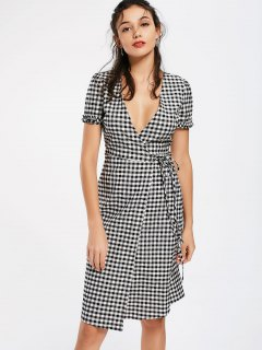 Checked Ruffles Wrap Casual Dress - Checked M