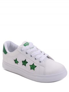 Star Pattern Lace Up Sequins Flat Shoes - Green 40