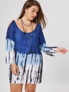 Plus Size Tie Dye Cold Shoulder Tunic Dress - 2xl