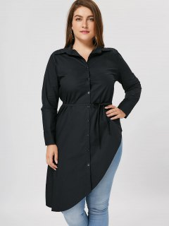 Plus Size Button Up Asymmetrical Shirt - Black 5xl