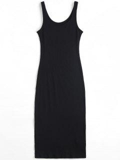 U Neck Ribbed Knitted Dress - Black