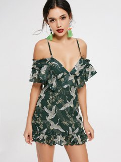 Crane Floral Print Ruffled Cami Dress - Army Green L