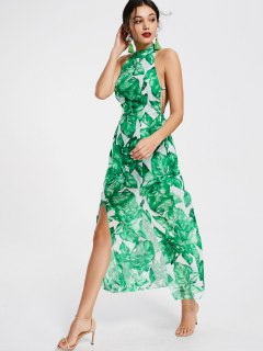 Leaves Print Open Back Slit Maxi Dress - Green M