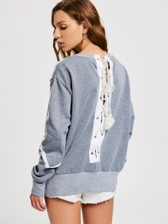 Back Lace Up Pullover Sweatshirt - Gray S