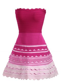 Ombre Color Night Out Tube Bandage Dress - Rose Red Xl