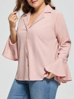 Plus Size Button Up Bell Long Sleeve Shirt - Pinkbeige 4xl