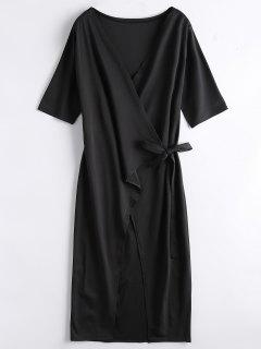 Front Slit Wrap Midi Dress - Black L