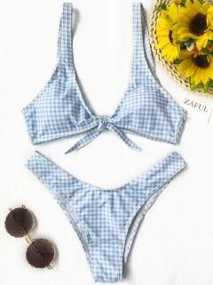 Front Tie Thong Plaid Bikini Set - Blue And White M