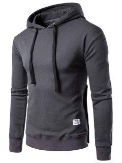 Hooded Side Button Slit Drawstring Hoodie - Deep Gray Xl