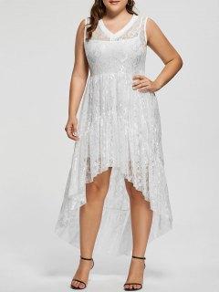 Lace High Low Plus Size Party  Dress - White Xl