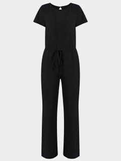 Invisible Pockets Drawstring Wide Leg Jumpsuit - Black Xl
