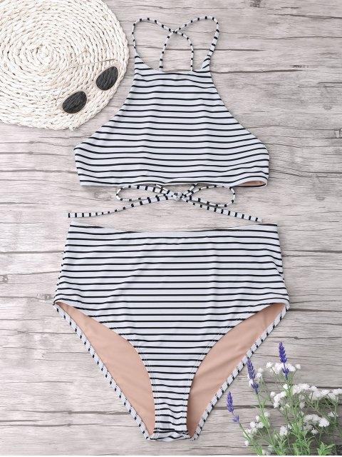Plus Size Stripe Ensemble de bikini à col haut - Blanc 3XL Mobile