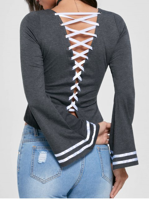 chic Lace Up Flare Sleeve Top - MOUSE GREY 2XL Mobile