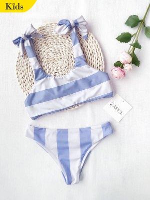 Ruched Tie Knot Striped Kid Bikini Set