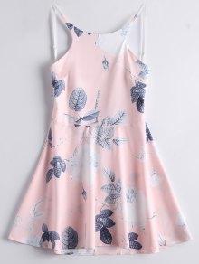 A فستان طباعة الورقة والأزهار عارية الظهر بخط - زهري S