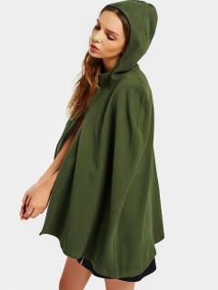 Plain Hooded Cape Coat - Army Green L