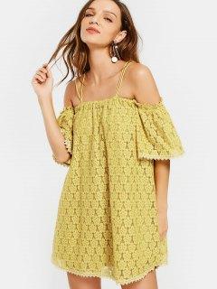 Cold Shoulder Floral Cami Lace Dress - Yellow M