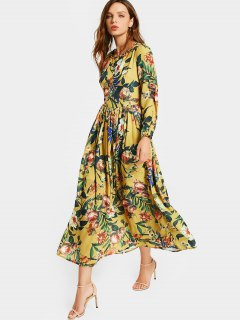 Round Collar Floral Print Long Sleeve Dress - Floral 2xl