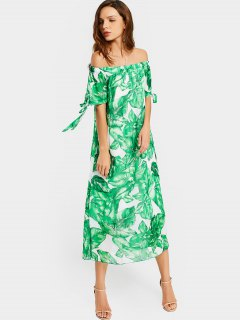 Off The Shoulder Leaves Print Dress - White And Green L