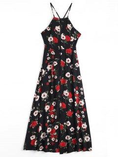 Floral Print Criss Cross Cami Dress - Black S