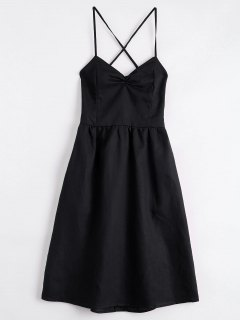 Open Back Criss Cross Ruched Cami Dress - Black S
