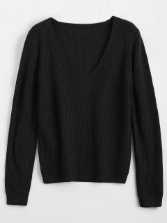 Loose V Neck Chunky Sweater - Black