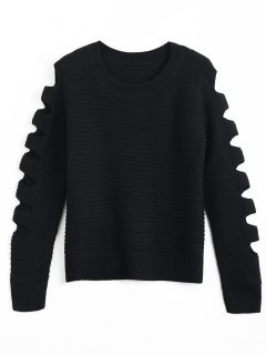 Crew Neck Cutout Sleeve Sweater - Black