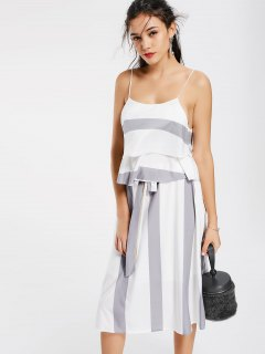 Layers Stripes Tank Top And Bowknot A Line Skirt - Grey And White L