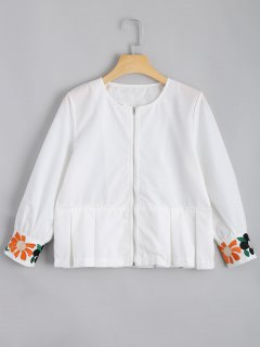 Zip Up Floral Patched Blouse - White S