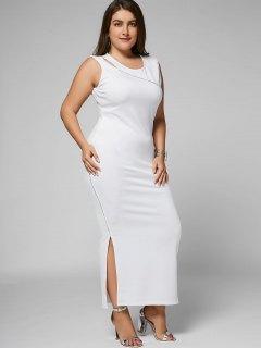 Slit Plus Size Cut Out Bodycon Maxi Dress - White 3xl