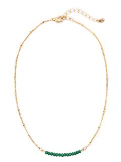 Beaded Chain Collarbone Necklace - Green