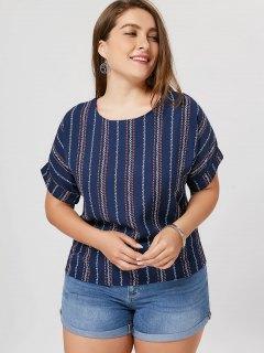Cuffed Stripe Plus Size Top - Cadetblue 5xl