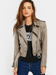 Asymmetric Zipper Belted Faux Suede Jacket - Camel S