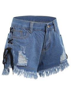 Frayed Hem Ripped Lace Up Denim Shorts - Denim Blue S