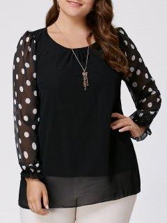 Polka Dot Plus Size Long Sleeve Chiffon Top - Black 2xl