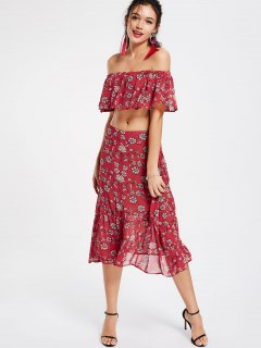 Floral Off Shoulder Tube Top And Ruffles Midi Skirt - Red M