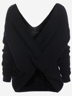 Plunging Neck Twist Back Sweater - Black