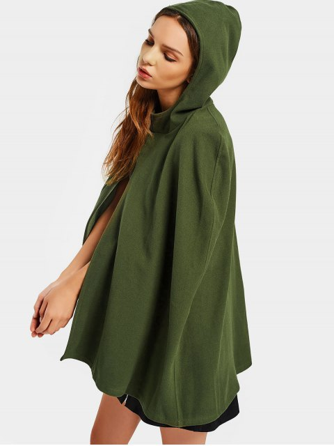 womens Plain Hooded Cape Coat - ARMY GREEN XL Mobile