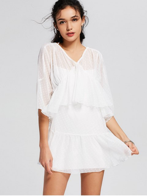 sale See Thru Ruffles Layered Mini Dress - WHITE M Mobile
