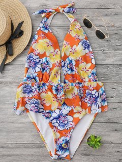 Ruffles Plunge Backless High Cut Maillots De Bain - Floral S