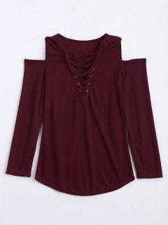 Cold Shoulder Lace Up Choker Knitwear - Wine Red S
