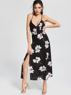 High Slit Open Back Flower Cami Dress - Floral Xl