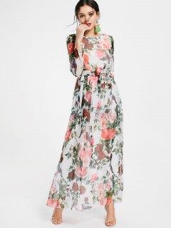 Robe Maxi Imprimée Florale à Manches Longues Avec Ceinture - Blanc S